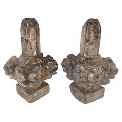 Stone Pair Carved Garden Finials, France, 19th Century