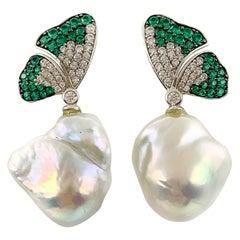 Stone & Pearl Butterfly Pendant Earrings