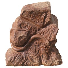 Stone Sculpture of Snake and Frog