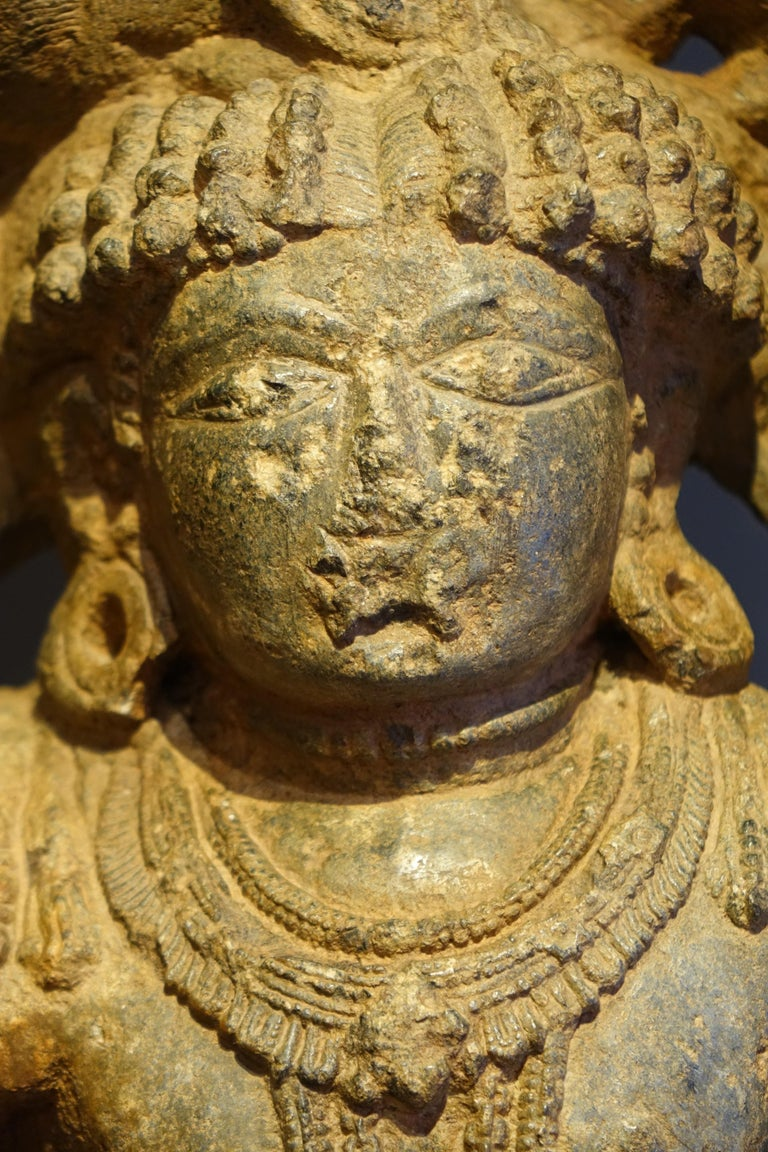 """Stone Sculpture Representing the God Shiva"", South India, 13th Century In Fair Condition For Sale In Paris, FR"