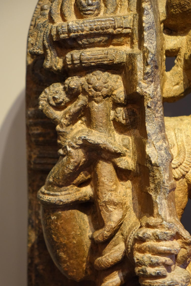 "Schist ""Stone Sculpture Representing the God Shiva"", South India, 13th Century For Sale"
