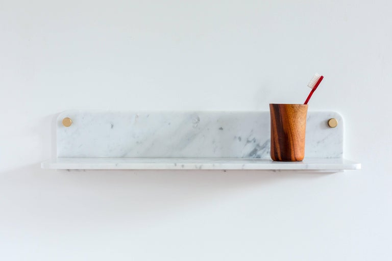 American Stone Shelf, White Carrara Marble by Fort Standard in Stock For Sale