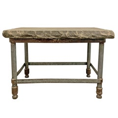 Stone Top Industrial Side Table