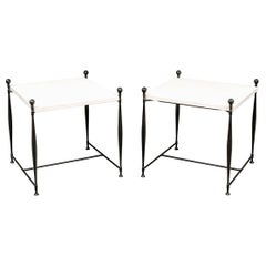Stone Top Iron Table Pair of after Diego Giacometti