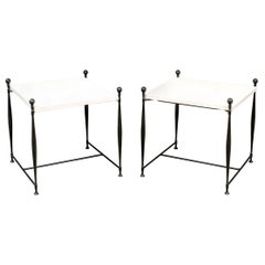 Stone Top Iron Table Pair after Diego Giacometti