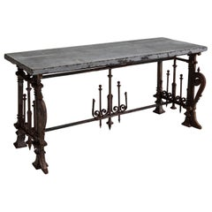 Stone Top Wrought Iron Console Table