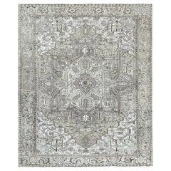 Stone Wash Abrash Gray Persian Heriz Even Wear Oriental Rug