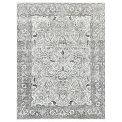 Stone Wash Persian Heriz Vintage Worn Down Natural Wool Handmade Rug