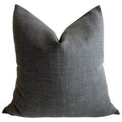 Stone Washed Faded Black Belgian Linen Accent Pillow