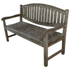 Stone Washed Vintage French Oak Wood Bench, circa 1900