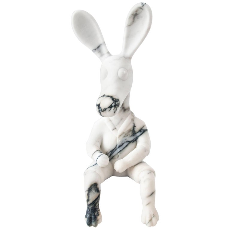 Stoned Donkey, Paonazzo Marble Sculpture Made in Italy For Sale
