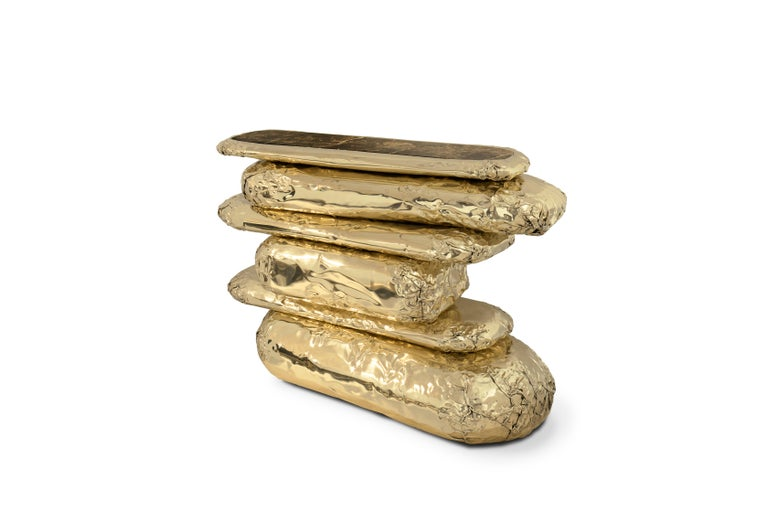 Modern Stonehenge Console Table in Hammered and Polished Brass For Sale