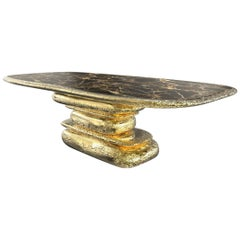 Stonehenge Dining Table in Polished Hammered Brass and Marble Top