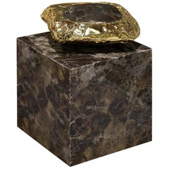Stonehenge Side Table in Marble and Hammered Brass