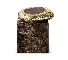 Stonehenge Side Table in Marble and Hammered Brass by Boca do Lobo