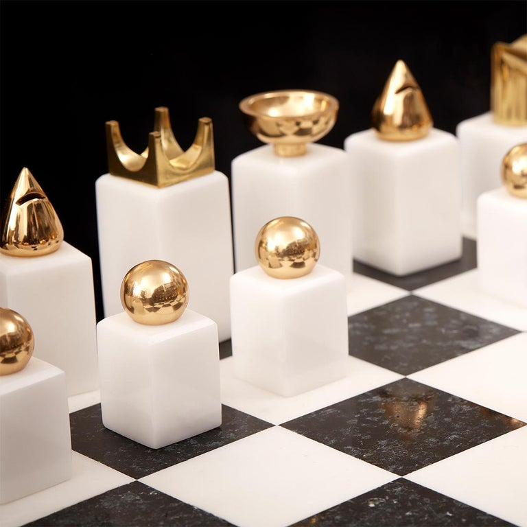 Gold Plate Stones Chess Game For Sale