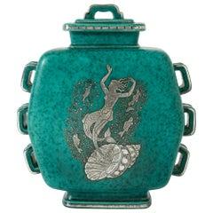 """Stoneware """"Argenta"""" Jar by Wilhelm Kåge for Gustavsberg, Sweden, 1930s"""