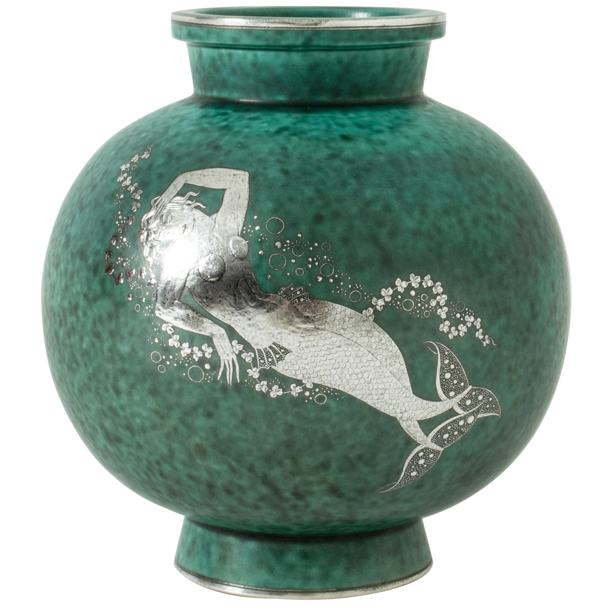 "Stoneware ""Argenta"" Vase by Wilhelm Kåge for Gustavsberg, Sweden, 1940s"