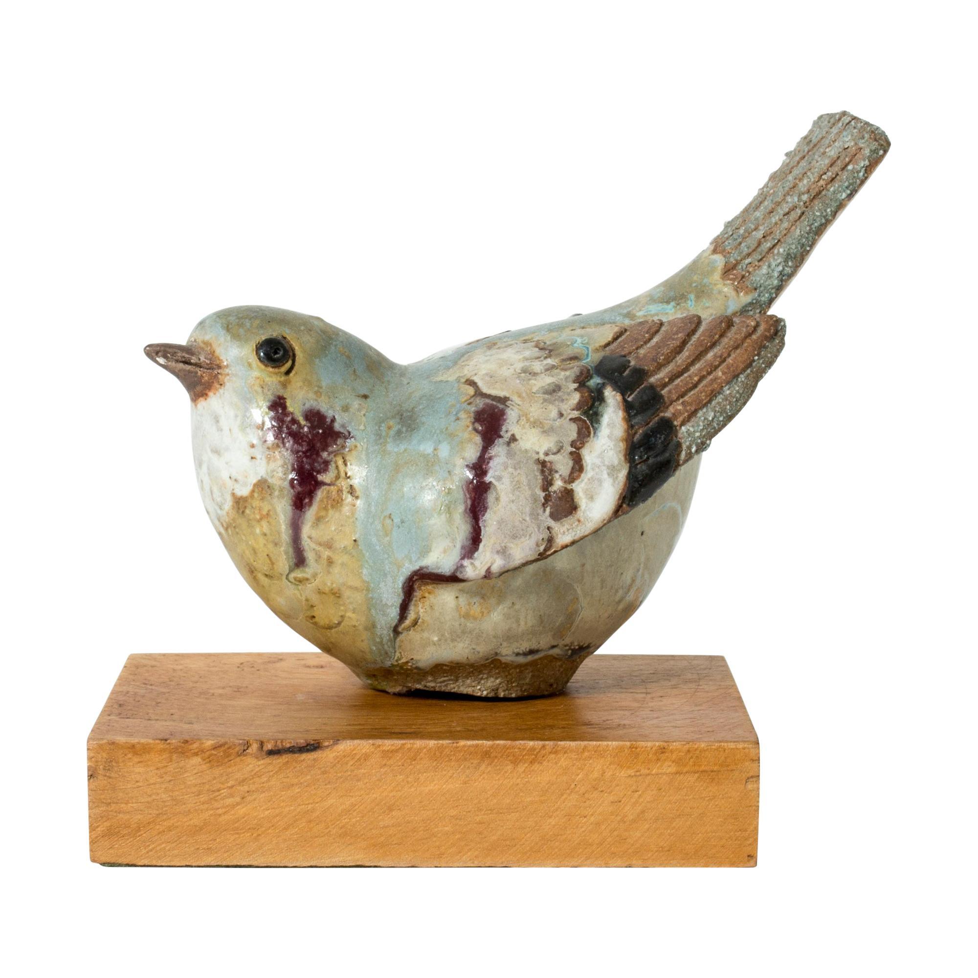 Stoneware Bird by Tyra Lindgren for Gustavsberg, Sweden, 1940s