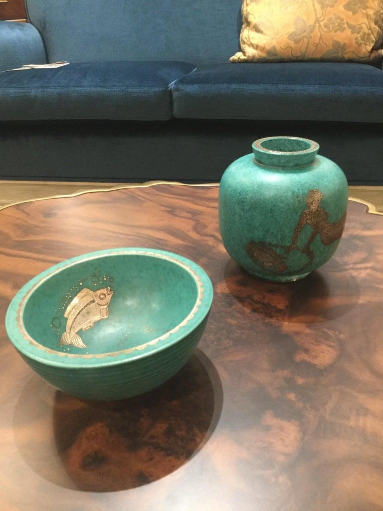 Swedish Stoneware Bowl by Wilhelm Kage, Gustavsberg, Sweden, 1930s