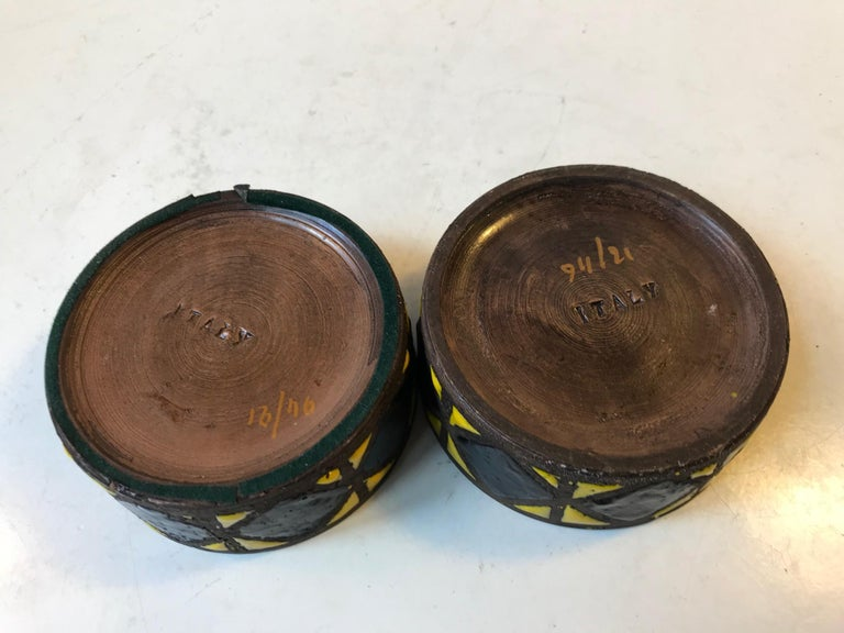 Italian Stoneware Candleholders by Aldo Londi for Bitossi, Italy 1960s, Set of 2 For Sale