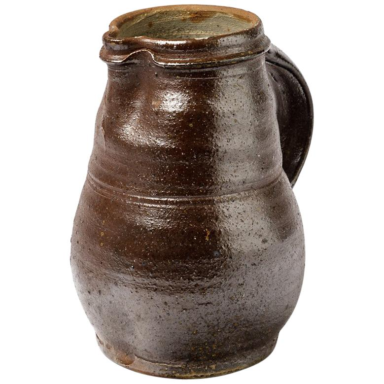 Stoneware Ceramic Brown Handmade Pitcher by Hervé Rousseau La Borne
