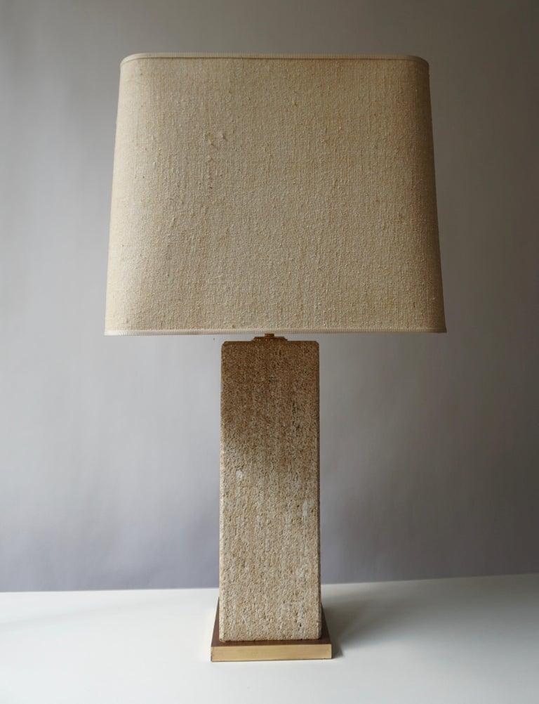 Brass Stoneware Ceramic Italian Table Lamp For Sale