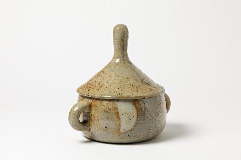French Stoneware Covered-Pot by Jean Lerat to La Borne, circa 1970 For Sale