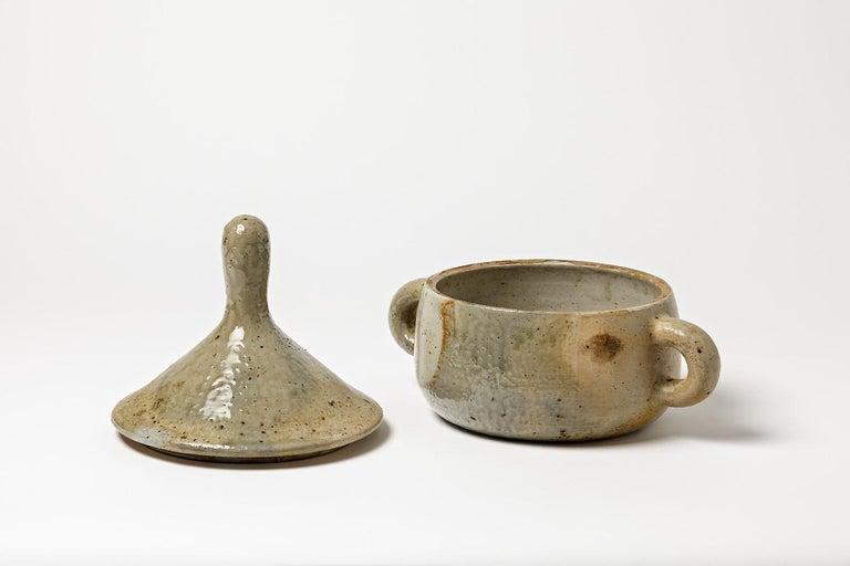 Ceramic Stoneware Covered-Pot by Jean Lerat to La Borne, circa 1970 For Sale