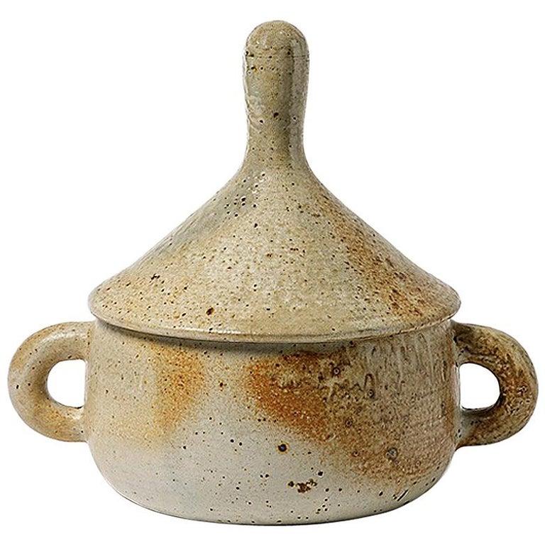 Stoneware Covered-Pot by Jean Lerat to La Borne, circa 1970 For Sale