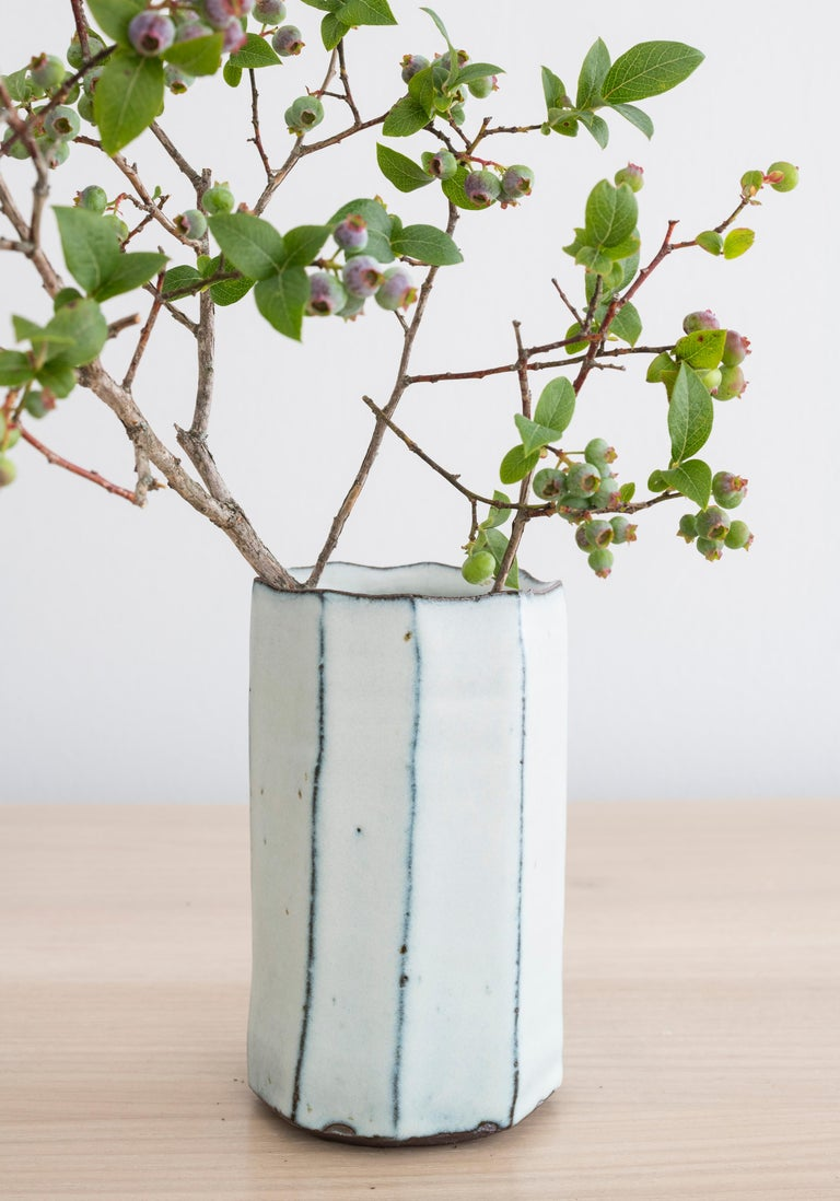 Stoneware faceted vase with milky Nuka glaze by Mats Svensson