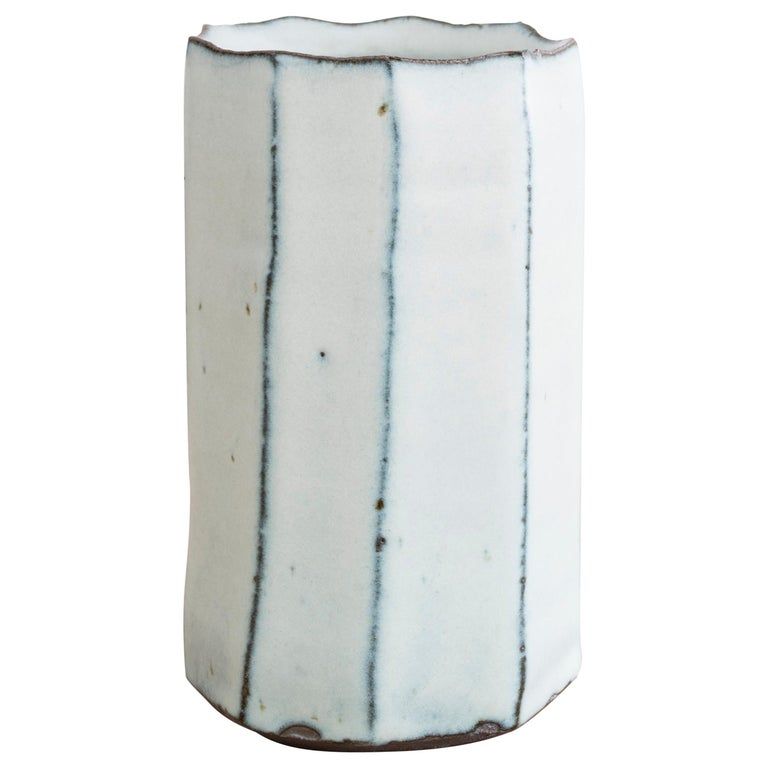 Stoneware Faceted Vase by Mats Svensson For Sale