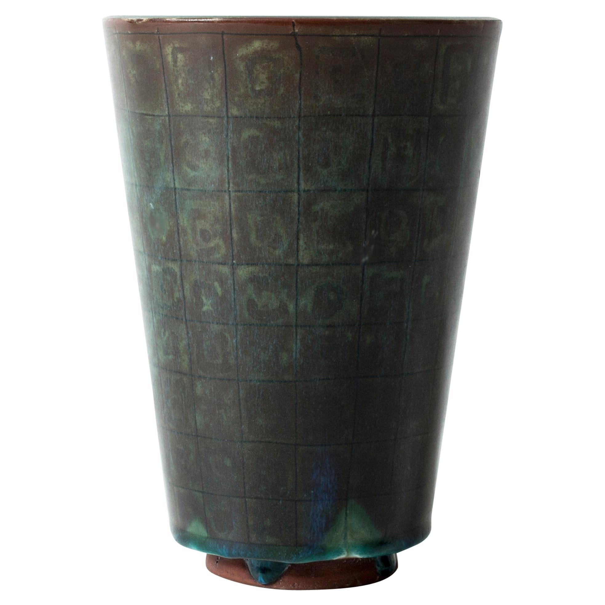 "Stoneware ""Farsta"" Vase by Wilhelm Kåge for Gustavsberg, Sweden, 1940s"