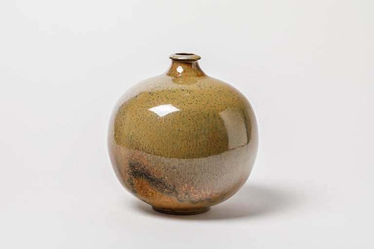 Late 20th Century Stoneware Glazed Ceramic Vase circa 1980 French Handmade For Sale