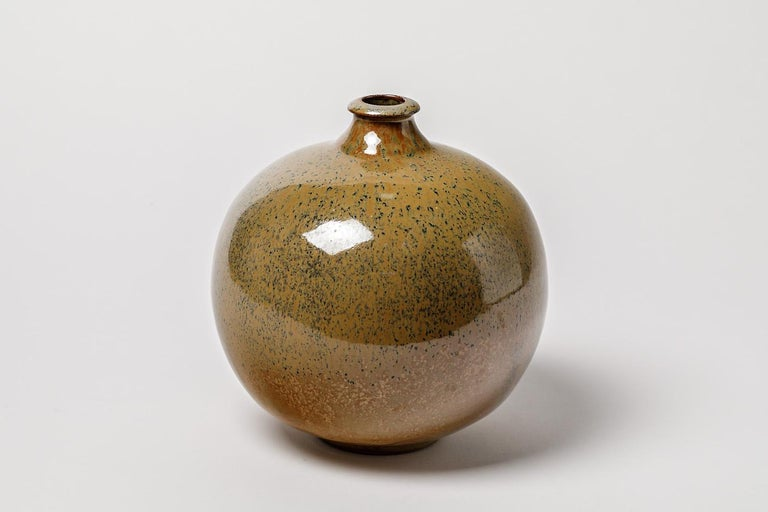 Stoneware Glazed Ceramic Vase circa 1980 French Handmade For Sale 1