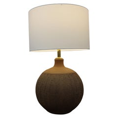 Stoneware Lamp Signed Brown