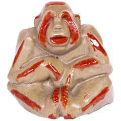 Stoneware Monkey by Margareta Wibom for Bo Fajans, 1930s