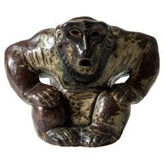 Stoneware Monkey Figurine by Knud Kyhn for Royal Copenhagen, Denmark, 1950s