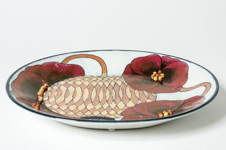 Scandinavian Modern Stoneware Platter by Birger Kaipiainen for Arabia, Finland, 1960s For Sale