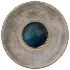 Stoneware Platter with Molten Glass Centre by Bruno Gambone, Italy circa 1980s