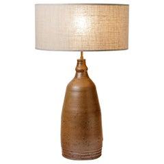 Stoneware Pottery Ceramic Table Lamp Brown Glaze Color circa 1960 Handmade