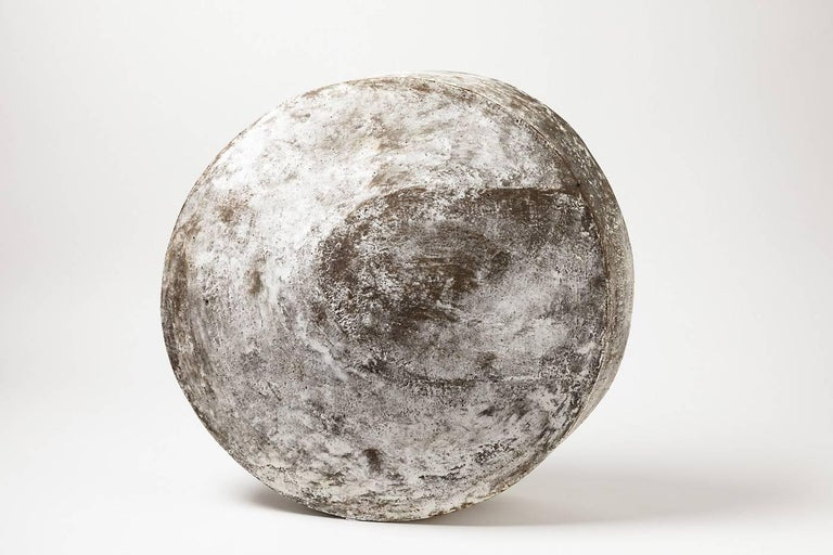 """A stoneware sculpture entitled """"Astre Lune II"""" by Maarten Stuer. Kaolin engobe. Artist monogram at the base. 2017. Unique piece. Measures: 13' 1/2 x 5' inch."""