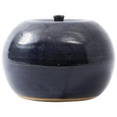 Stoneware Soliflore in Blue Glaze, France, 1960s
