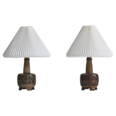 Stoneware Table Lamps by Nils Thorsson for Royal Copenhagen with Le Klint Shades