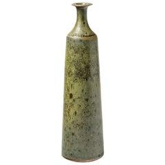 Stoneware Vase Bottle with Green Glaze by Robert Deblander, circa 1970