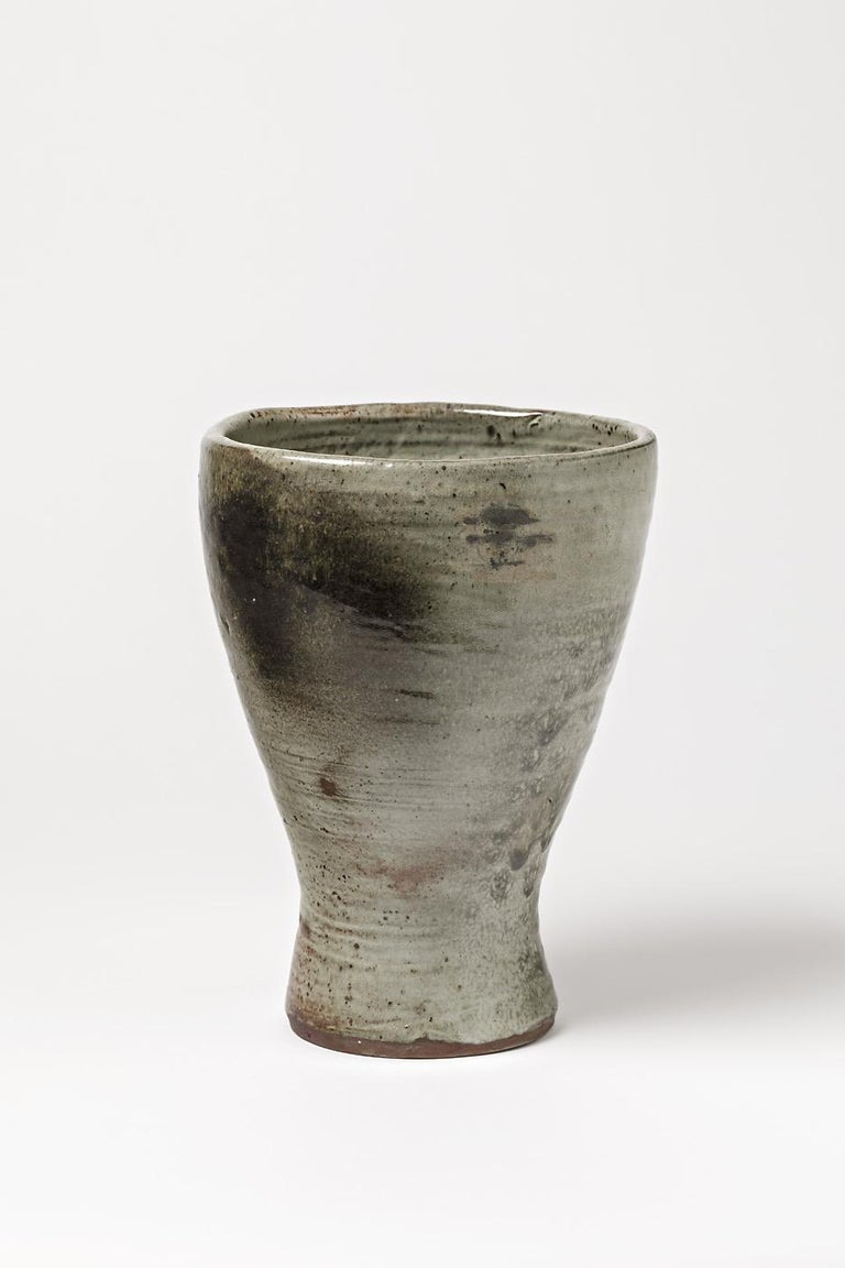 French Stoneware Vase by Jeanne & Norbert Pierlot to Ratilly, circa 1970 For Sale