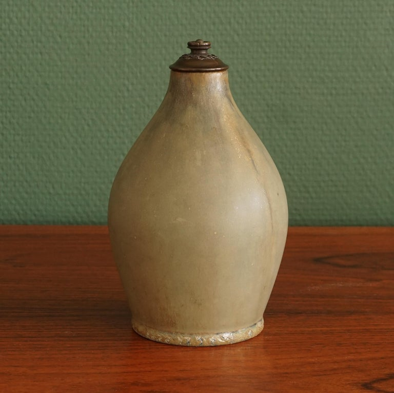Danish Stoneware Vase, Cover of Patinated Bronze, Manufactured by Royal Copenhagen For Sale