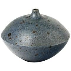 Stoneware Vase with Blue-Grey Glazes Decoration by Robert Deblander, 1970
