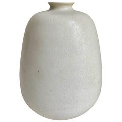 Stoneware Vase with Matte White Glaze by Erich and Ingrid Triller