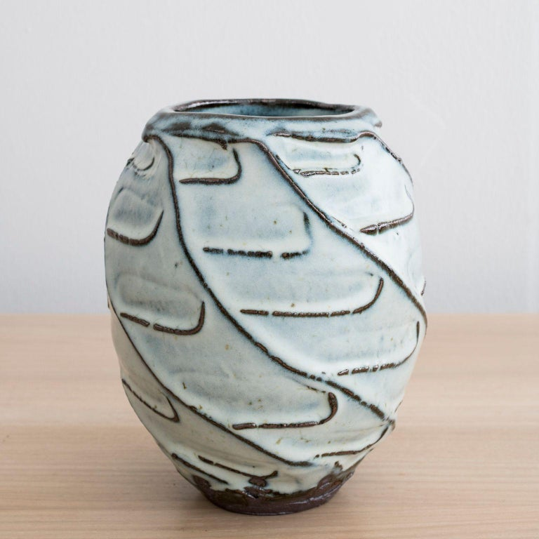 Stoneware vase handmade by Mats Svensson  Black clay with Nuka glaze  Made in Sweden, 2020  Approximately: Height 8 1/2